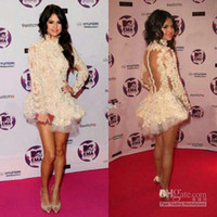 High Collar beautiful celebrity - 2013 Sexy Backless Long Sleeves Mini Beautiful Lace Selena Marie Gomez Celebrity Dress CBD056