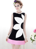 Wholesale Women s Black white mosaic Slim rose pink flowers sleeveless dress S M L