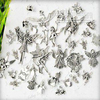 Wholesale 19 Assorted Tiebt Tibetan Silver Angel Fairy Wing Vintage Charm Pendant TS0621