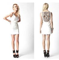 Wholesale ASOSs lace hollow skull back of dress lady s mini skull dresswhite black yellow
