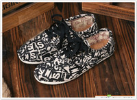 Wholesale 2013 NEW women s bandage letters canvas shoes to help low Korean shallow mouth flat casual shoes