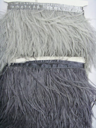 Free Shipping 10 yards lot 1 ply light gray&dark gray ostrich feather trimming fringe on Satin Header 5- 6inch(12-15cm) in width(Tip to Tip)