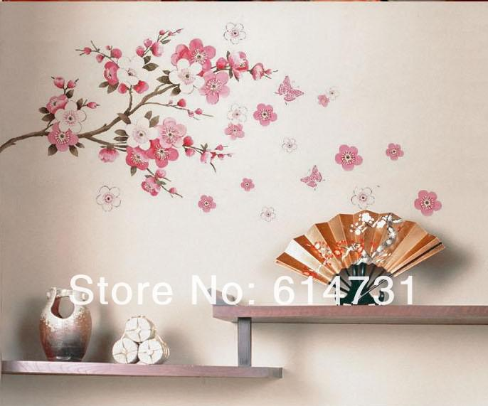 Flowers Butterfly Wall Sticker Sakura Butterfly Wall Paper Cherry Blossom Wall Decor Removable Wall Sticker