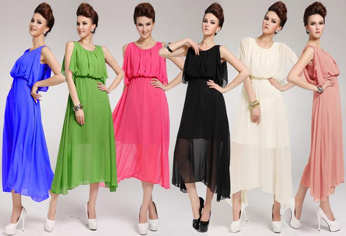 Summer Dresses Plus Size Women Cape Style Silk Chiffon Dress Sexy ...