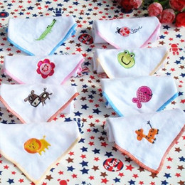 Wholesale Cotton gauze baby towel double layer with cartoon animal embroidery baby burp cloth handkerchief cotton bib nursing towel