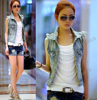 Wholesale Women s Retro Washed Sleeveless Personalized Cardigan jeans Denim Vest Waistcoat Coat Jacket S M L f