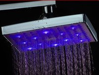 Wholesale 7 colors changes RGB LED shower head overhead shower mm inch Shower Head L0003