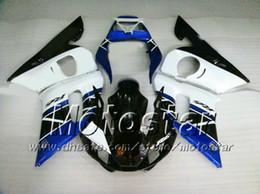 Fairing for YAMAHA R6 YZF-R6 98 99 00 01 02 YZF-R6 YZFR6 1998 1999 2000 2001 2002 White DK.Blue 69M