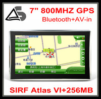 Wholesale HD inch GPS navigation with SIRF Atlas VI MHZ Windows CE Bluetooth AV IN MB DDR3 GB flashroom