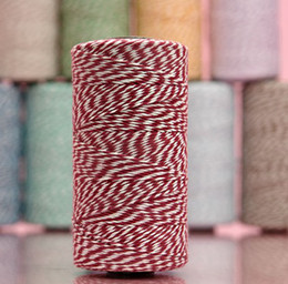 Wholesale Cotton Green Twine - Cotton Bakers Twine ( 15 spools Lot) 12 ply 110Yards Per Spool For Gift Packing Red Black Coffe Green Gray Blue Pink Orange