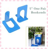 Wholesale 2X Blue Bookends Metal quot High Office School Bookshelf Desk Accessories Organizer