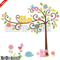 Wholesale Cute Owl Wall Sticker Tree Peel amp Stick Wall Decor Kindergarten Kid s Room Wall Paper cm