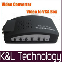 Wholesale Big Promotion Universal TV AV RCA Composite amp S Video to PC VGA Signal Adapter Converter Video by DHL