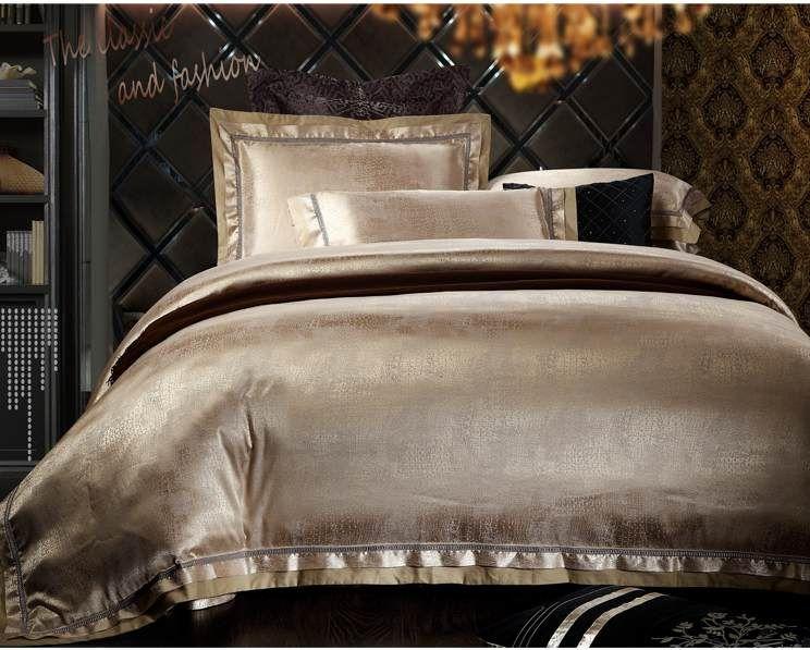vente en gros luxury jacquard de soie coton ensemble de literie queen size king 4 satin. Black Bedroom Furniture Sets. Home Design Ideas