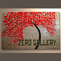 Wholesale Miodern Art Figure Floral Tree of life Red Leaf Oil Painting Wall on Canvas Bedroom home decor londres decoracion hogar new york