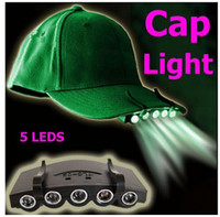 Wholesale 5 Leds Cap Hat Light Clip On LED Fishing Camping Head Light HeadLamp Cap with CR2032 cell Batteries