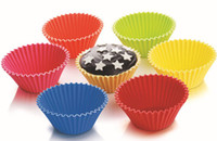 Wholesale Best Prce Fedex Round shape silicone jelly baking mold cm muffin cup cake cups cupcake