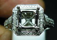 semi mount ring - 0 CT PRINCESS SOLID K WHITE GOLD NATURAL DIAMOND WEDDING ENGAGEMENT SETTING SEMI RING MOUNT
