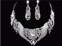 Wholesale Shining Luxury Rhinestones Crystals Wedding Party Bridal Jewelry Set Including Necklace and Earrings