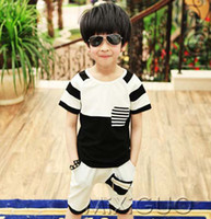 Wholesale Children Clothes Kids Sets Short Sleeve T Shirt Child Suit Two Piece Fashion Summer Casual Shorts Boys Shirt Children Set Kids Suit Outfits