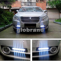 Cheap GHJB852 100pcs lot Car Truck Van Daytime Running Light Head Lamp White 8 LED DRL Daylight Kit