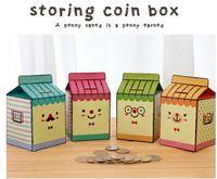 Wholesale Korea Stationery Fashion Cute DIY Paper Milk Carton Shape Coin Bank Money Box Piggy Bank