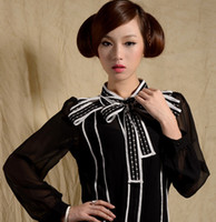 Casual ladies clothing - 2013 Women s Spring Hot Sell Star Style Shirts Vintage Embroidered Ruffled Bow Tops Black White Noble Elegant Ladies Shirts Clothes