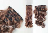 Wholesale 7 From cm brown curly wavy Clip In Full Head Set Wig Hair Piece Extensions Hairpieces H8000H