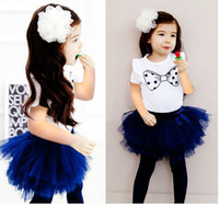 Wholesale Lovely girl s piece suits bowknot shirt TUTU pants children s christmas gifts baby dress sets