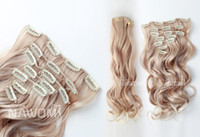 Wholesale 7 From cm golden curly wavy Clip In Full Head Set Wig Hair Piece Extensions Hairpieces H8001J