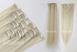 Wholesale 7 From cm blond Straight Clip In Full Head Set Wig Hair Piece Extensions Hairpieces H8002I