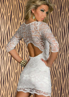 Wholesale In Stock Shipping today Fitted Sexy Tight Black Lace Cut Out Back white Half Sleeve Prom Dress party Gown Celebrity Dresses Christmas Club