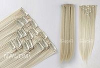 Wholesale 7 From cm blond Straight Clip In Full Head Set Wig Hair Piece Extensions Hairpieces H8003I