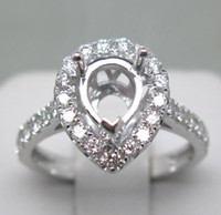 semi mount ring pear - PEAR MM SOLID K W GOLD NATURAL DIAMOND WEDDING ENGAGEMENT SETTING SEMI RING MOUNT G090390