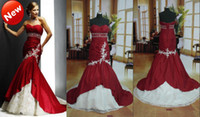 Wholesale 2013 Strapless Mermaid Taffeta Beads Applique Corset Lace White And Red Evening Bridal Wedding Dress