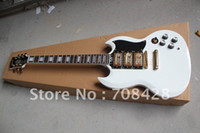 other other Mahogany free shipping high quality sg custom electric guitar in white color with 3 gold pickup