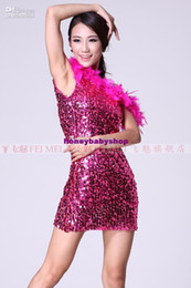 Wholesale 2012 New Women s Dress Latin Dance Clothing Colors A Shoulder Feather Sequin Women s Dress FMWD