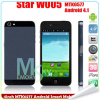 Wholesale Newest cellphone quot Multi Touch Capactive screen STAR W005 Dual Camera MP Dual Core phone MTK6577 G WCDMA GPS WIFI