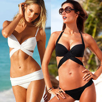Women Bikinis Pure Colour On Sale Cross Strape Bikini Suit White Black 2 Pieces Swim Sets Swimwear Sexy Women Padded Bathing Suit SJ0505#