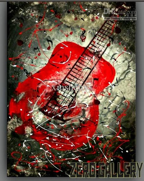 2017 cheap modern wall abstract oil painting artwork music instrument