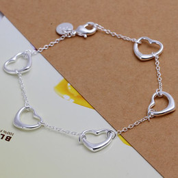 Wholesale Listed on the new High quality fashion silver cute five small hollow Bracelet jewelery holiday gift package mail H213