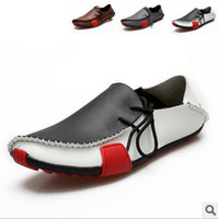 Wholesale fashion Men s leather casual shoes black brown gray Peas shoes breathable shoes