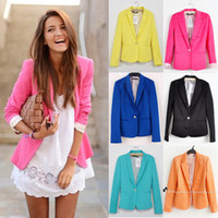 basic yellow - S New Fashion Candy Color Basic Slim Foldable Suit Jacket Blazer XS s M L