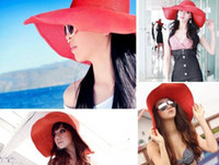 Wholesale Hawaii Beach Cap Wide Large Floppy Brim Summer Beach Sun Straw Beach Derby Hat Cap Packable Flexible Sun hat Holiday hat