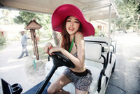 Hot sale 2013 fashion folding empty sun hat for women sun ca...