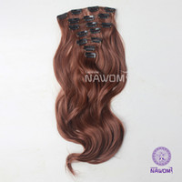 Wholesale 7 From cm CM dark brown curly wavy Clip In Full Head Set Wig Hair Piece Extensions Hairpieces H8004K H8005K