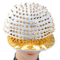 Wholesale S5Q Fashion Hedgehog Punk Hip hop Unisex Hat Golden Spikes Spiky Studded Cap Top AAABMV