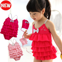 Wholesale Children s Girls Swimsuit Swimwear Beach Wear Adorable Tiered Ruffled Bow Beaded Cake Skirts Swimming Wear Cute Swim Cap