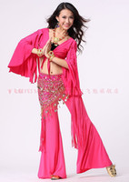 Women Belly Dancing Cotton 2013 hot sell belly dance dancing new style Horn long sleeve tops+tribal pants+mesh cloth hip scarf 3pcs set costume wear stages costumes