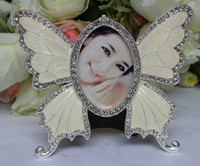 Wholesale 2x3 quot Fashion Butterfly Alloy Photo Frame With Diamond For Home Decoration Accessories Wedding Gift Birthday Gift